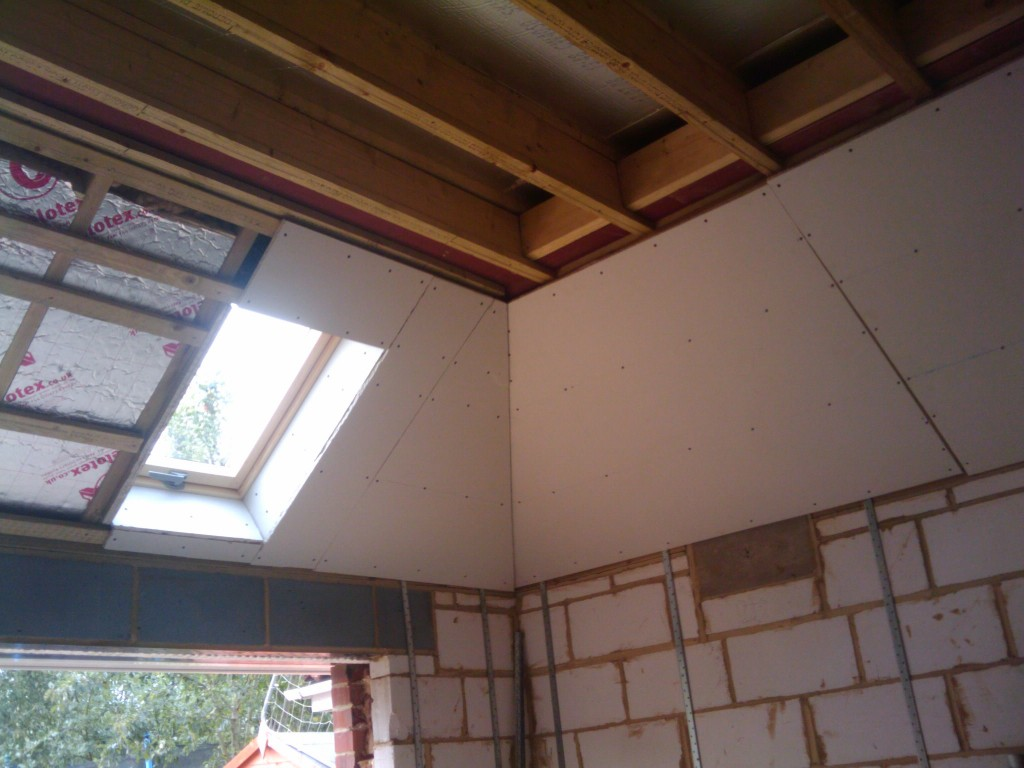 Plaster board around the roof windows