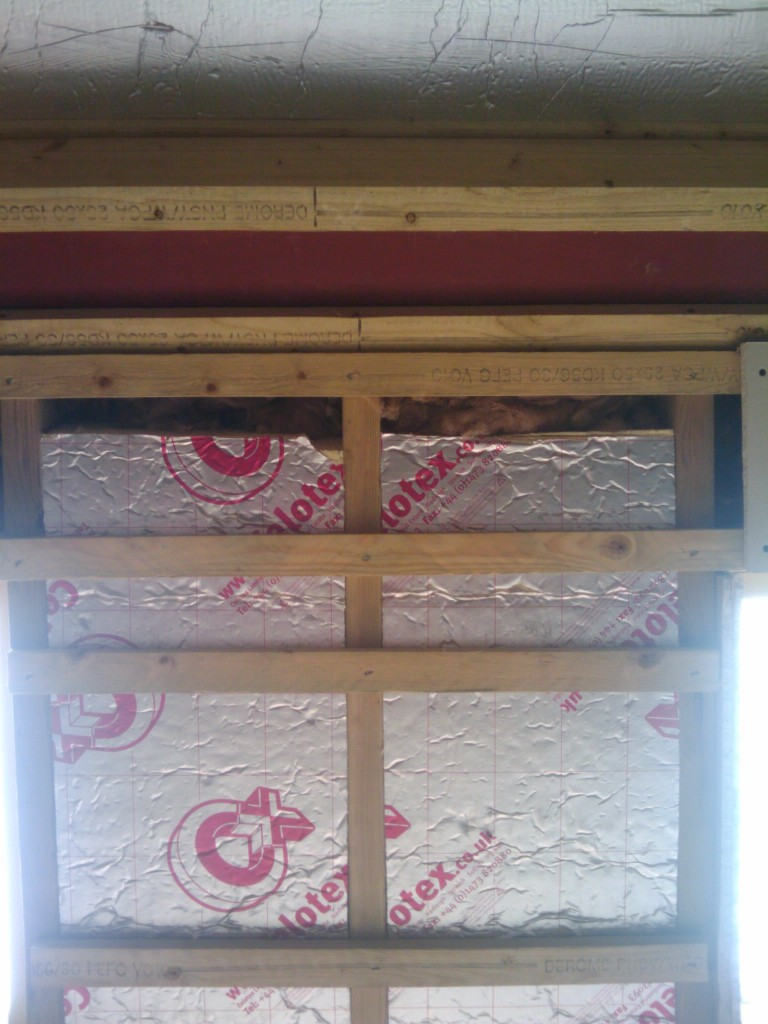 Insulation board in the rafters