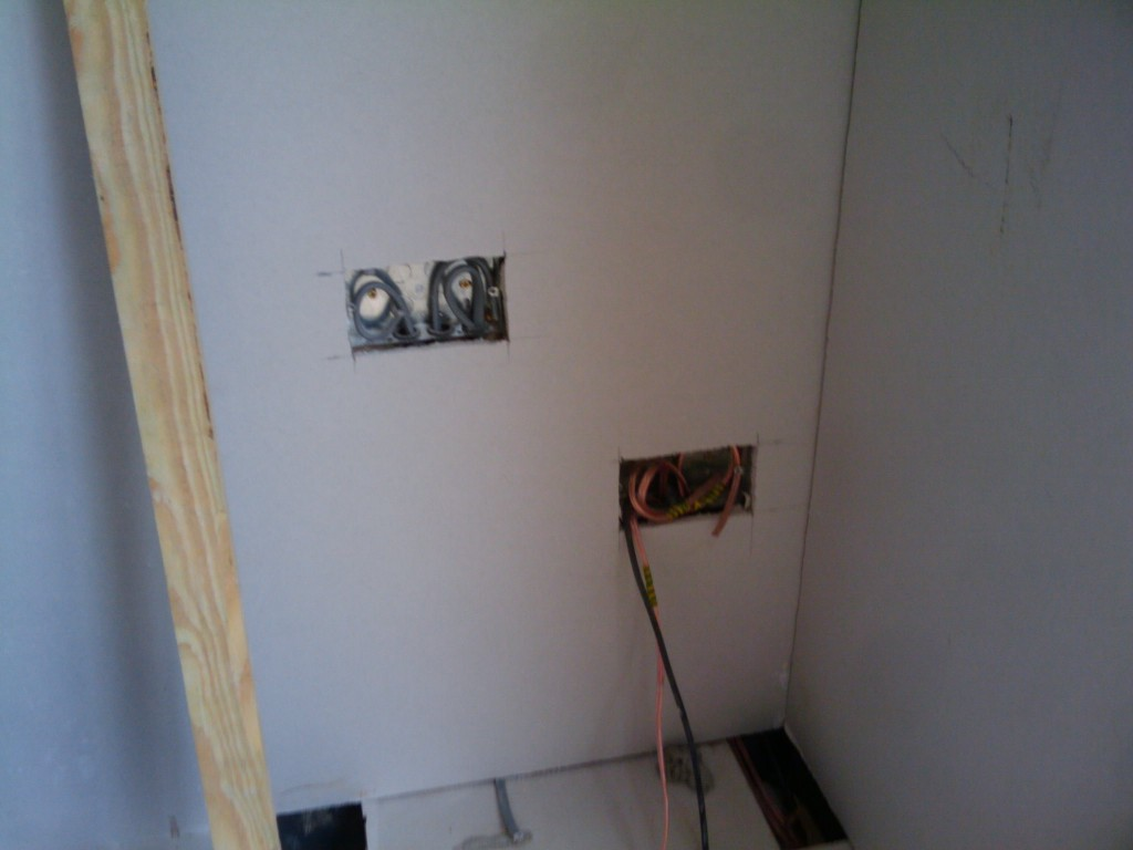 Sockets in the plasterboard - double electric socket and my speaker cables