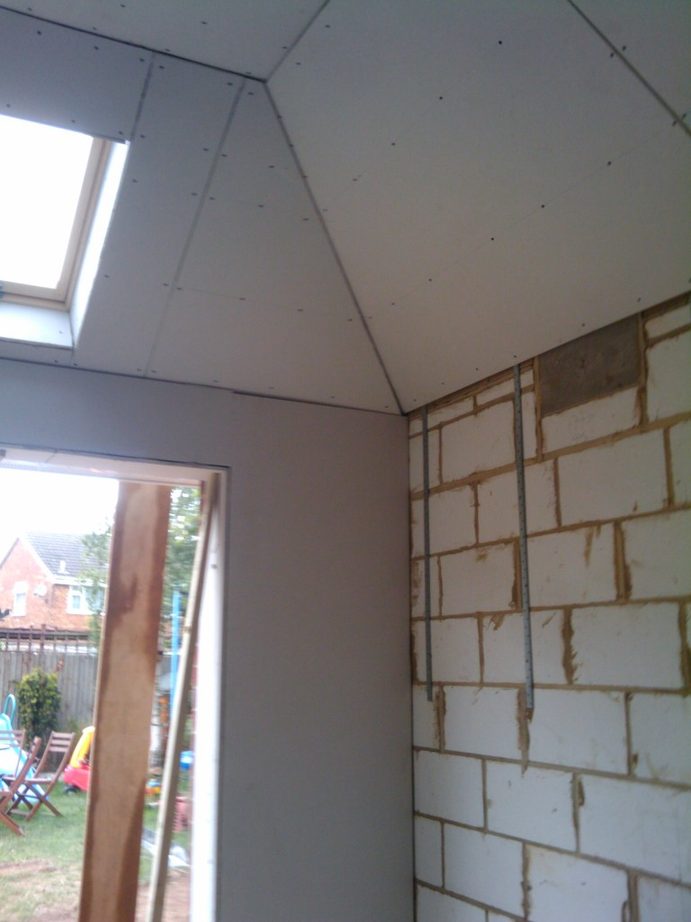 The Plasterer will finish boarding this wall tomorrow