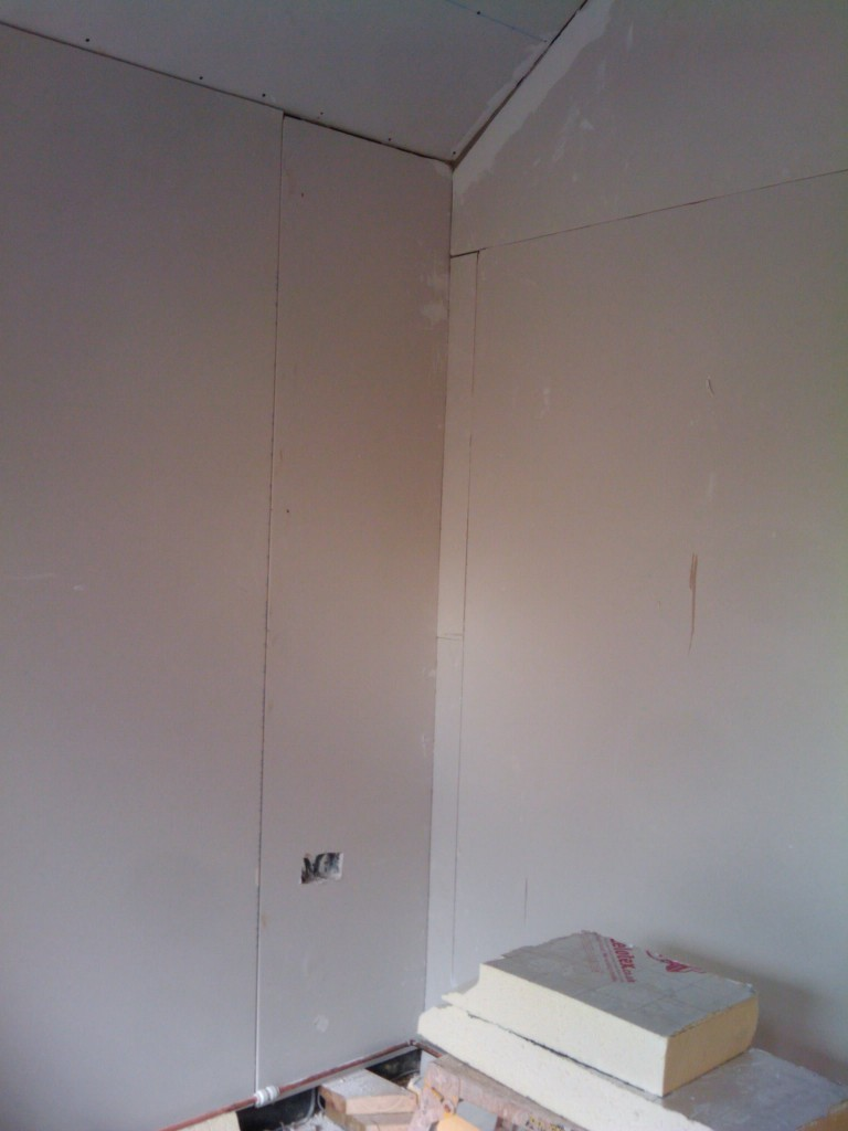 Plasterboard on the walls