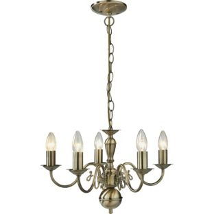 Living Flanders 5 Light Chandelier - Brass