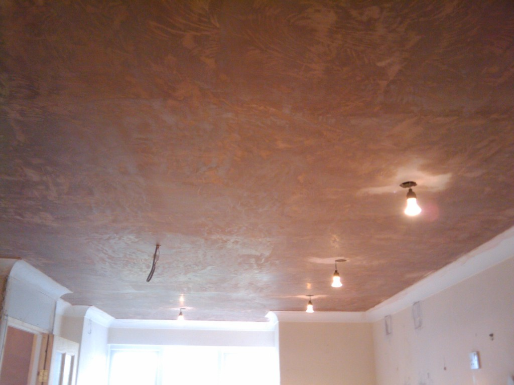 Ceiling, plastered, with lights