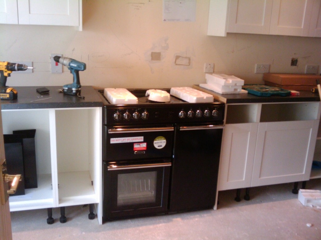 The Leisure 90cm range cooker is in place