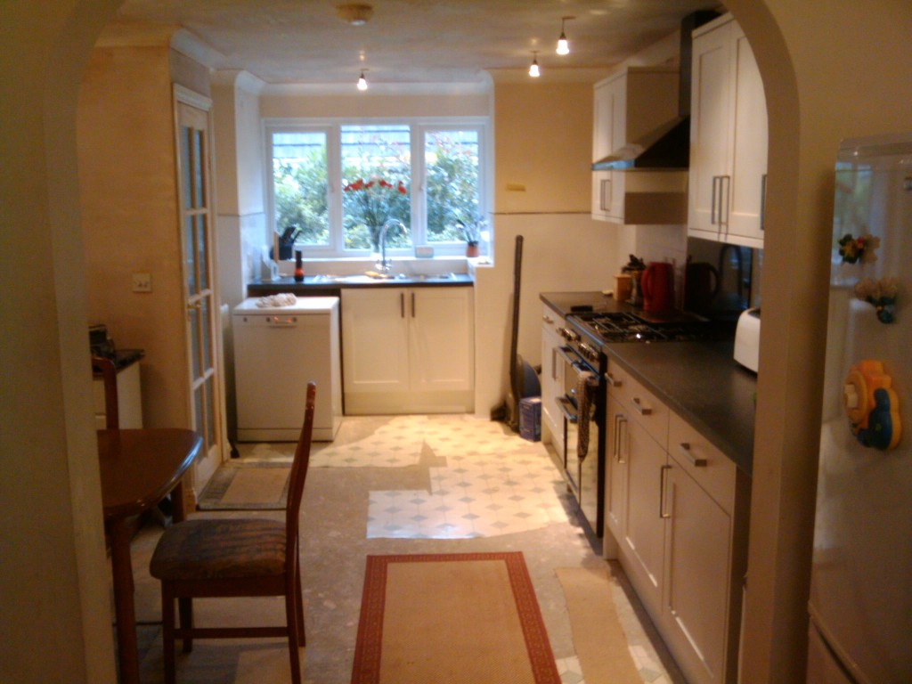View of new kitchen from old dining room