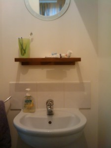 WC painted, new shelf put up.