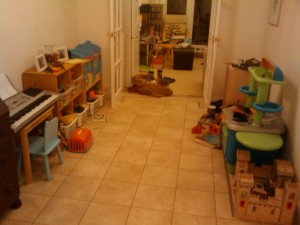Toys added to library / playroom (right side will have the bookcase)