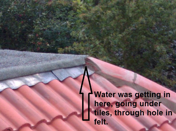 leaking roof water in through hips