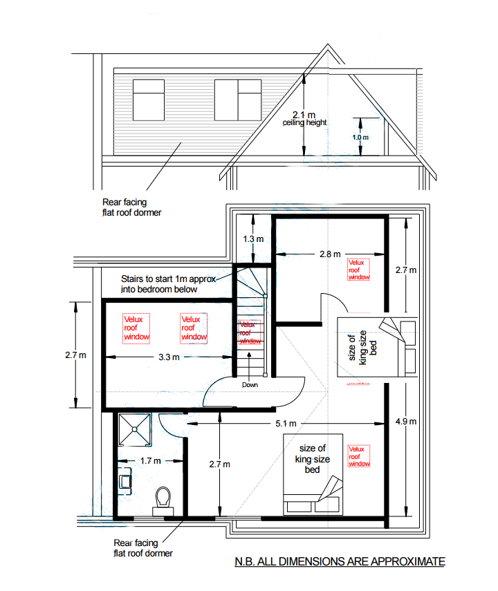 How big can a dormer in a loft conversion be my extension for Dormer floor plans