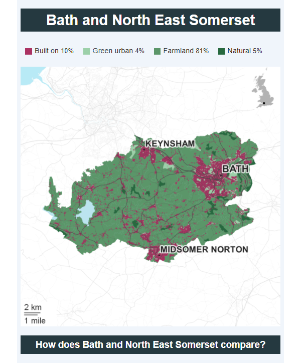 How built up is Bath and North Somerset