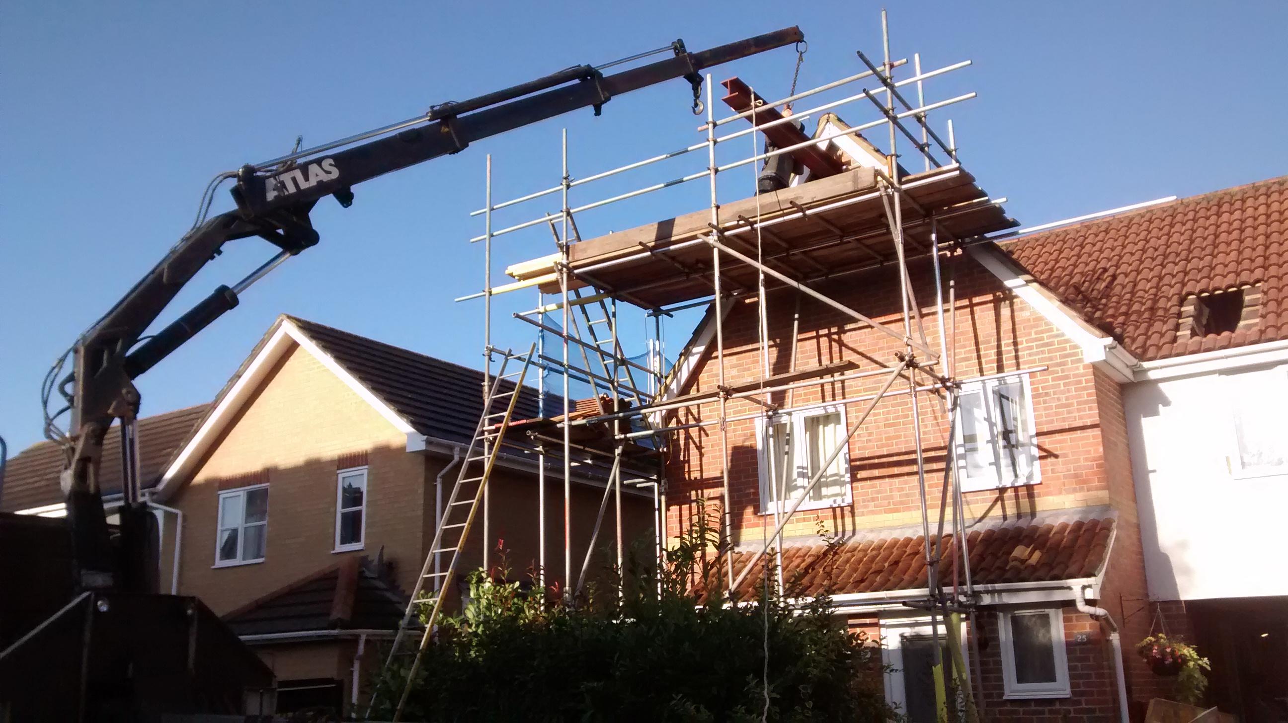 steel craned into roof