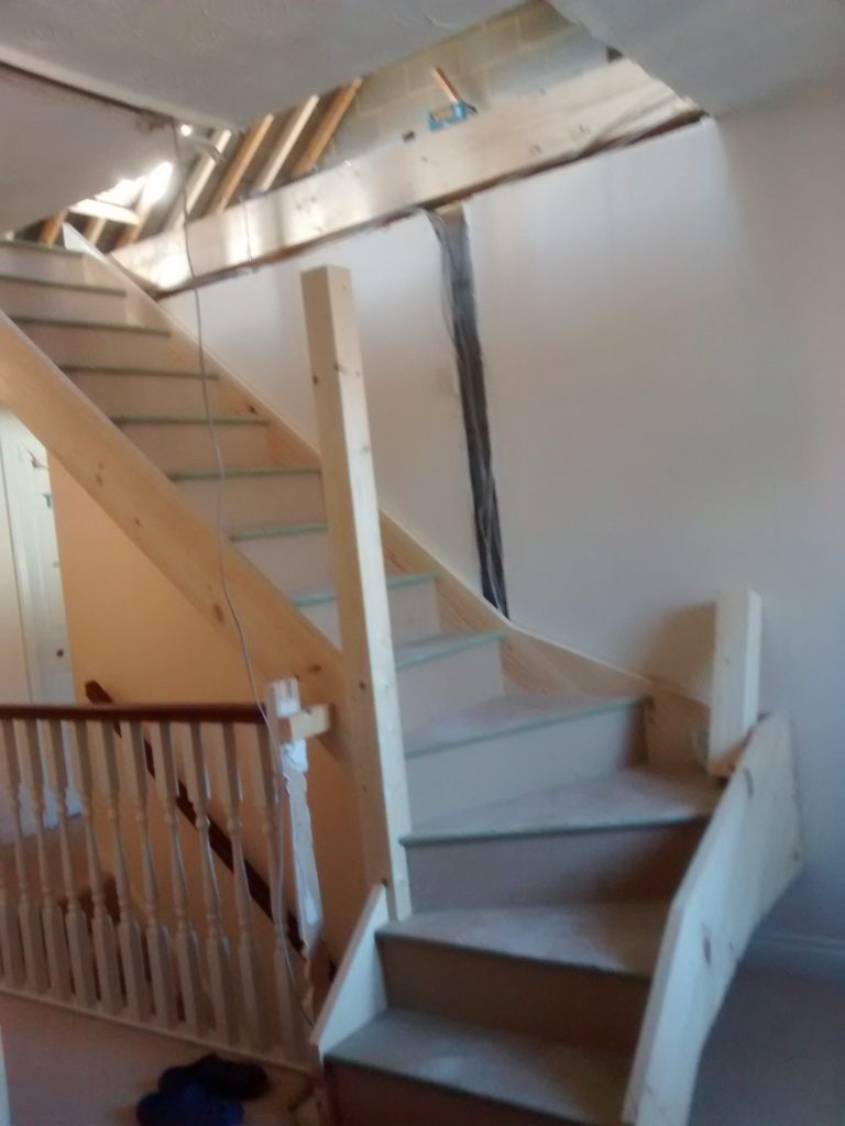 Loft Stairs Constructed Dwarf Wall Supports Installed