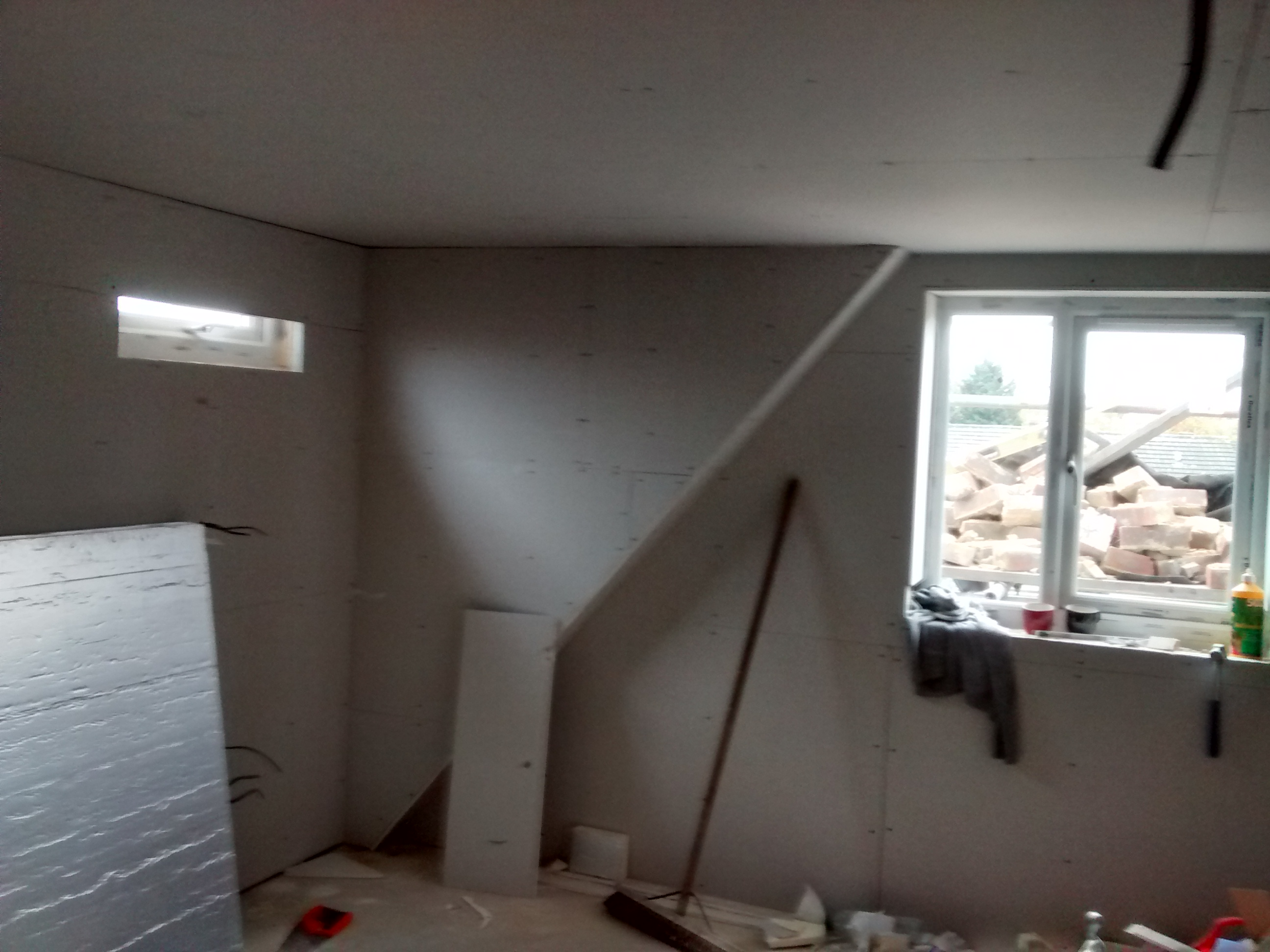 plaster board goes up