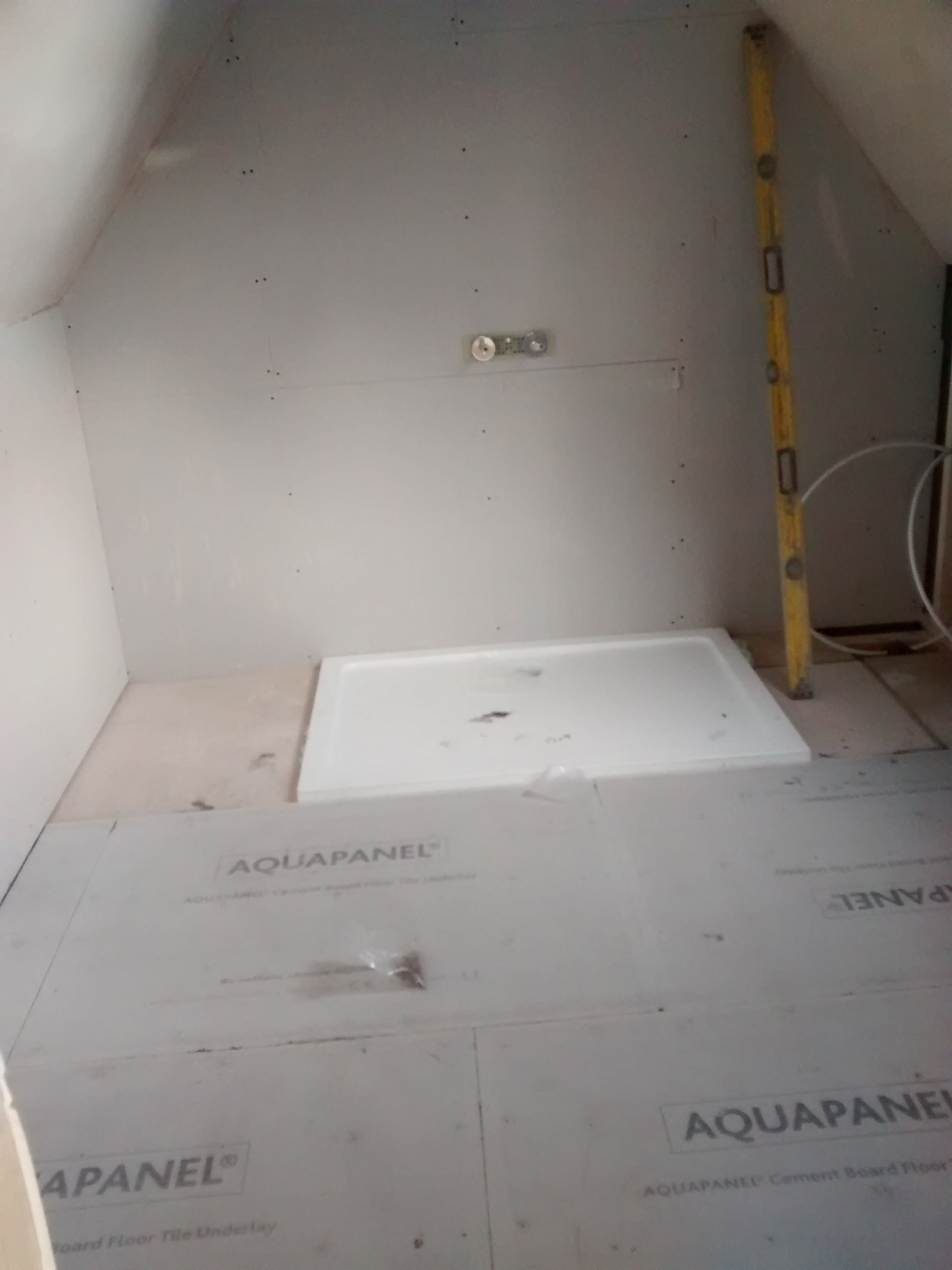 shower tray installed
