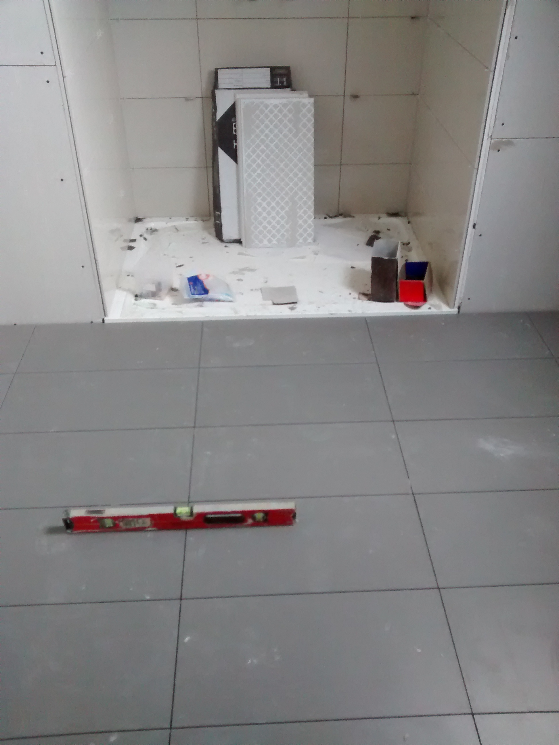 ensuite floor tiled