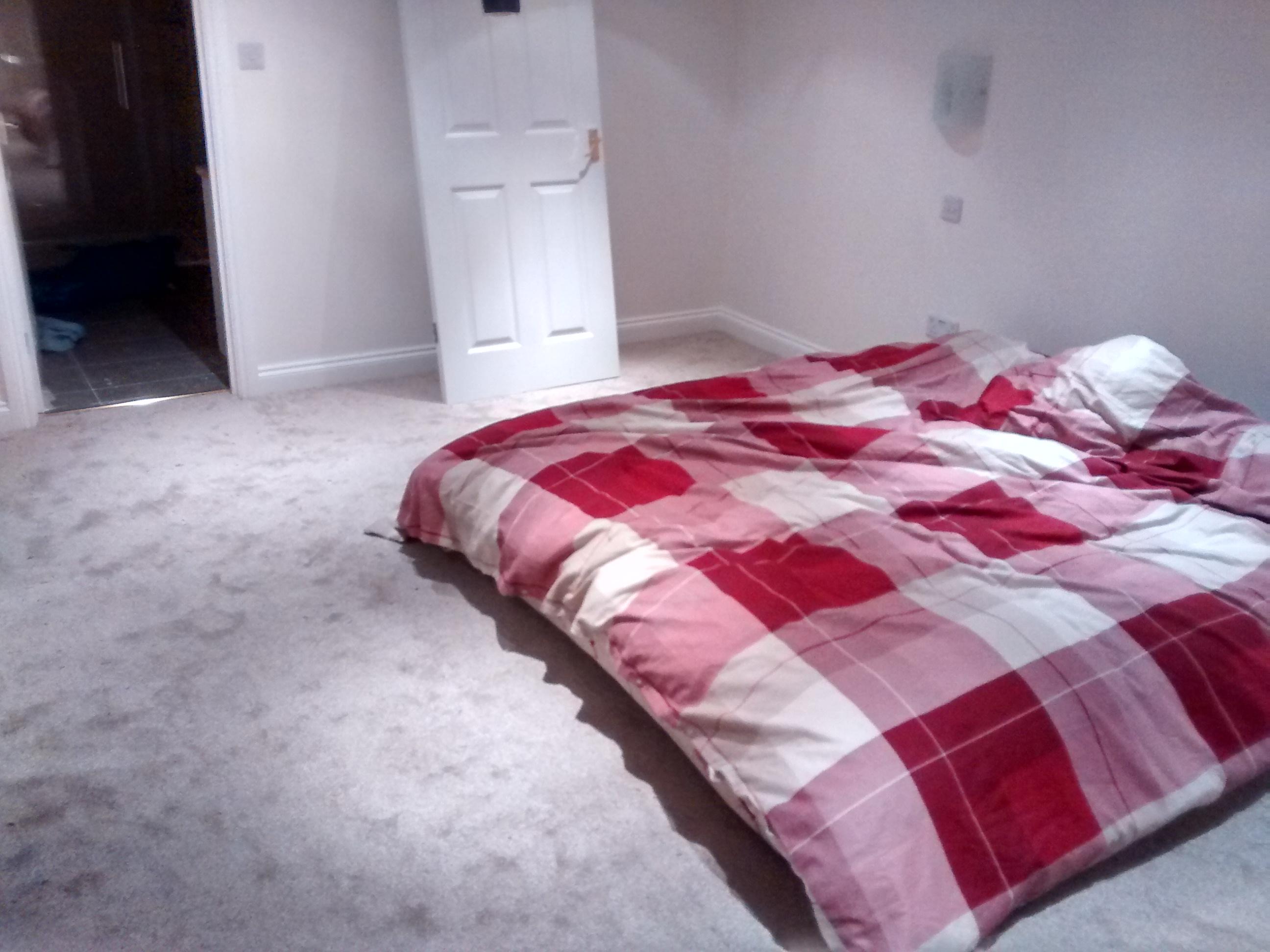 bedroom carpet and mattress