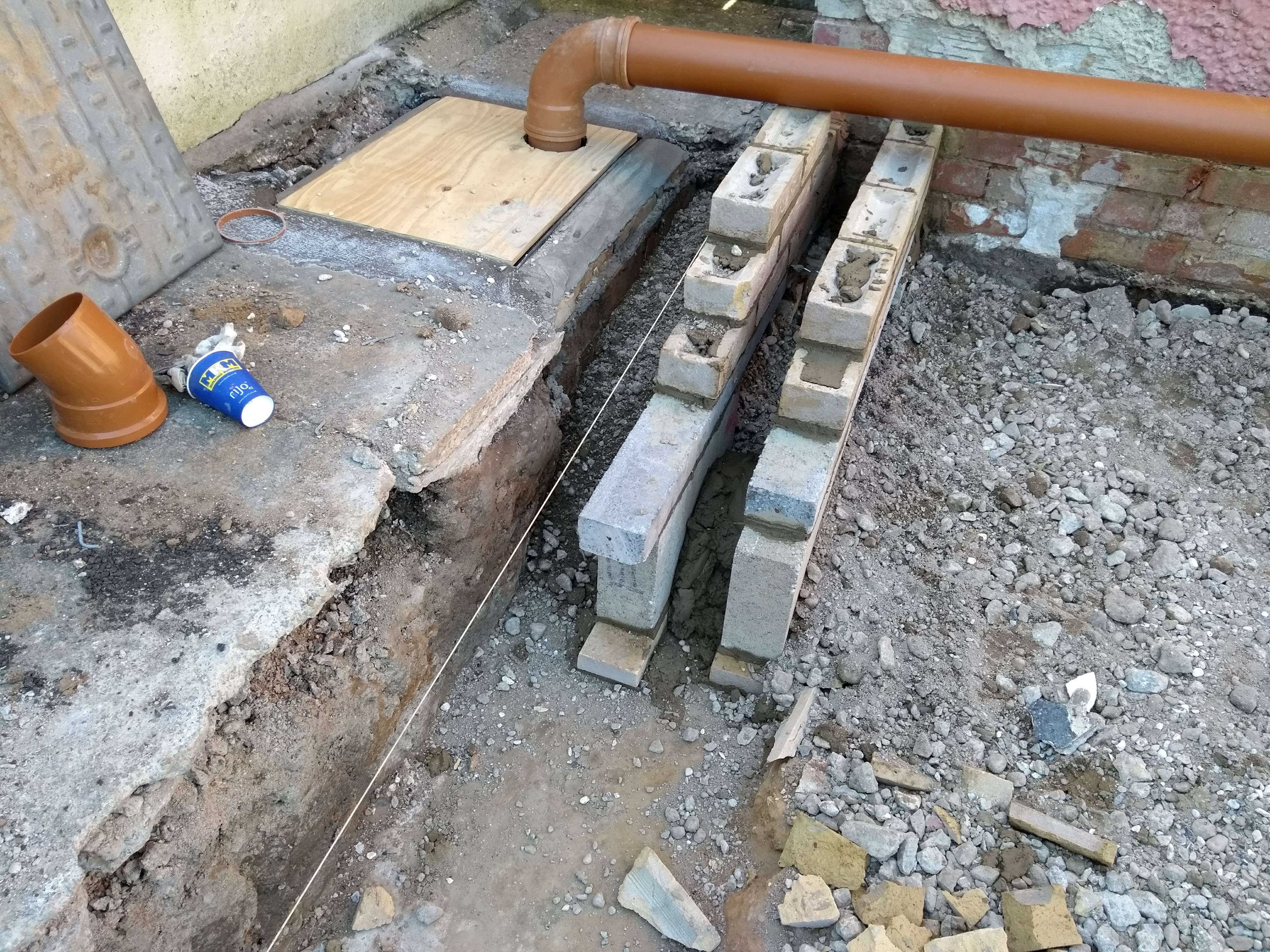 corner next to drains