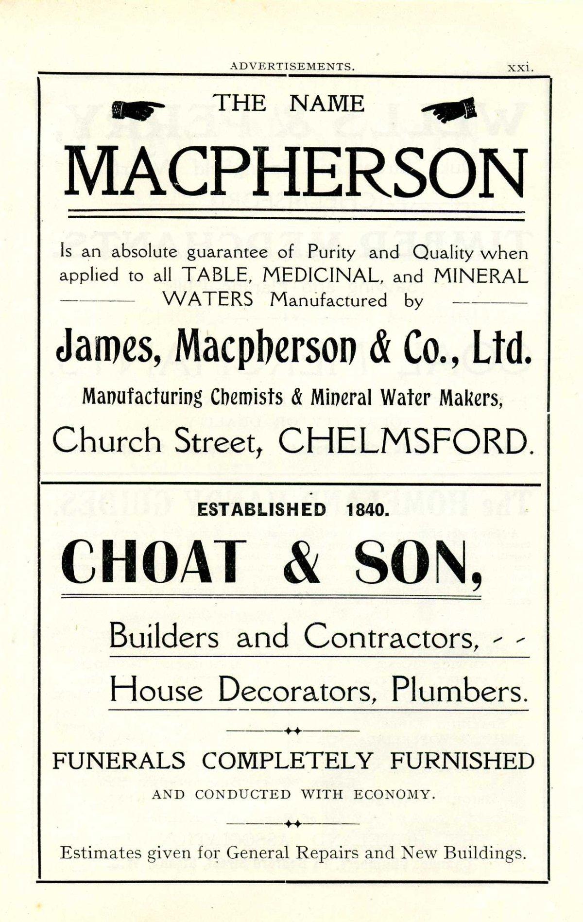 MacPherson advert 1909