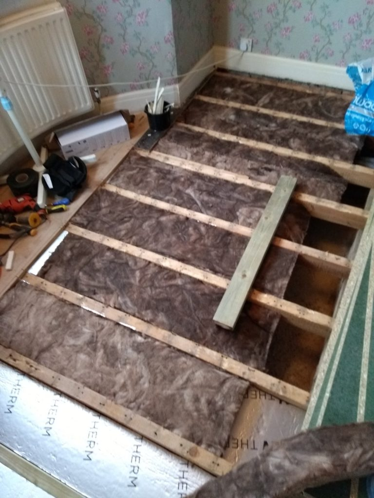 insulated under wooden suspended floor